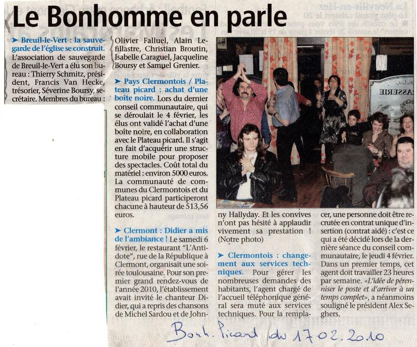 17 février 2010 - Journal Le Bonhomme Picard - La sauvegarde de l'église Saint Martin de Breuil le Vert se construit.