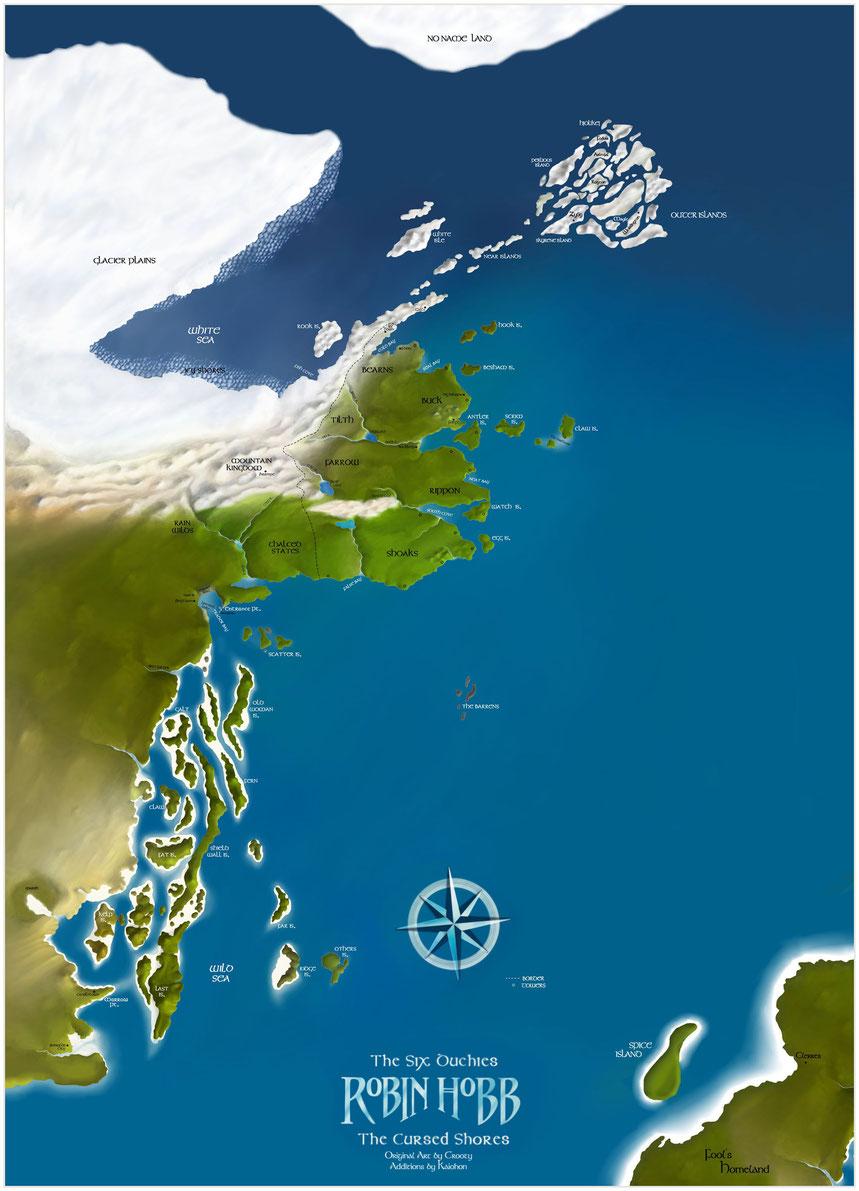 La carte, en anglais, de l'univers de Robin Hobb