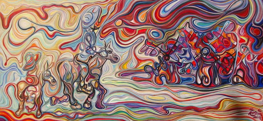 Don Quijote y Sancho acercándose a los molinos de viento/ Óleo sobre lienzo / 65 x 140 cm /Colección Privada