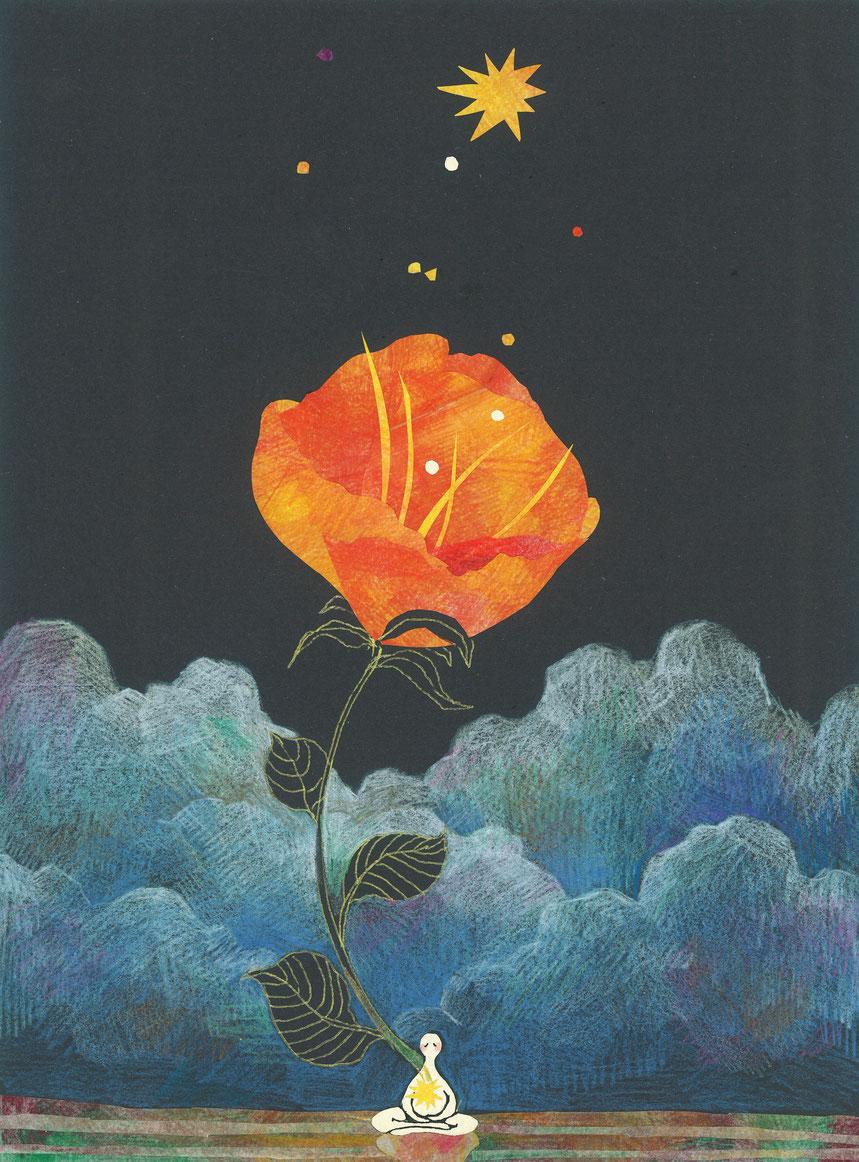 Under the flower