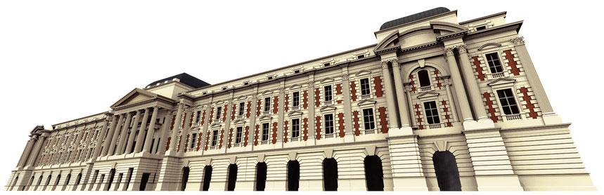 architecture classique façade de palais, reconstitution en 3d