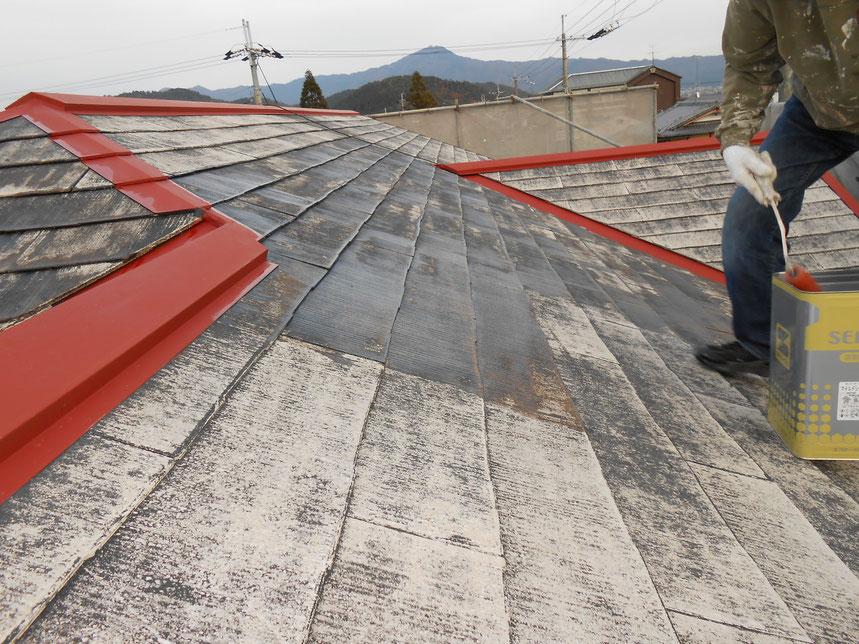屋根プライマー塗り、鉄板錆び止め