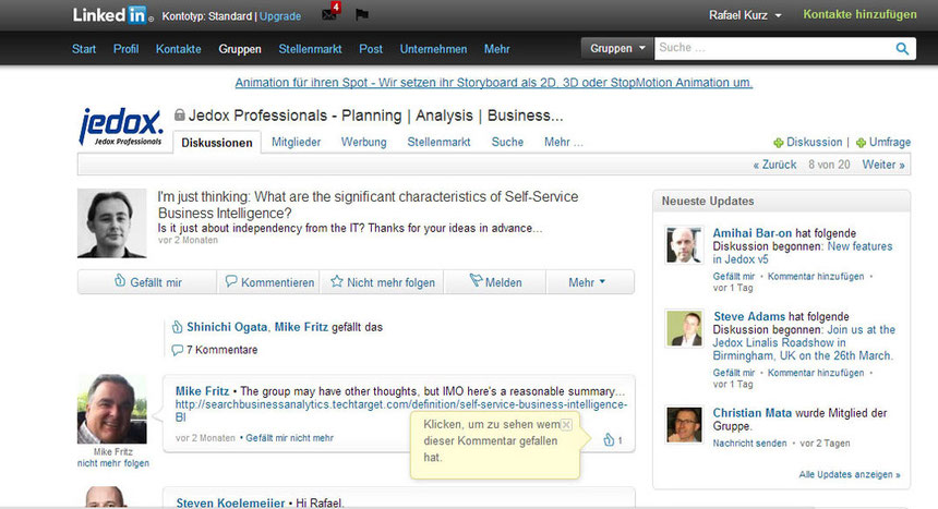 Social Media Jedox LinkedIn