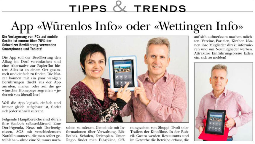 App Würenlos Info, App Wettingen Info