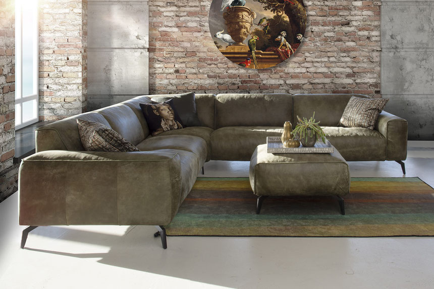 MÖBELLOFT Design Sofa HIMMEL als Einzelsofa, Ecksofa oder Wohnlandschaft in hochwertigem Echtleder mit passendem Hocker in modernem Grün
