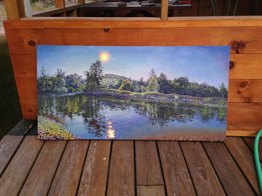 "Afternoon Sun on Schoharie Creek @24 x 54"" (by outside porch)"