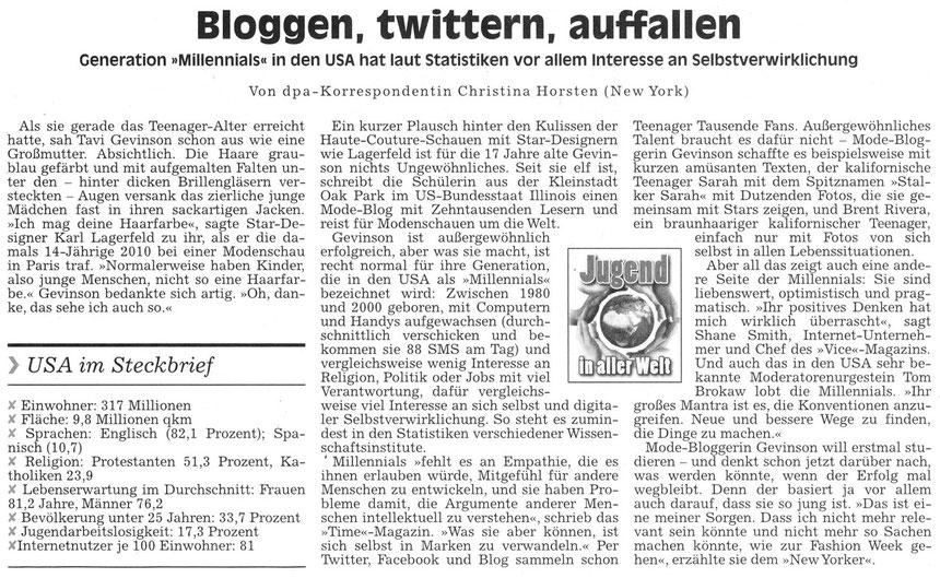Bloggen, twittern, auffallen, WZ 11.11.2013 von dpa-Korrespondentin Christina Horsten (New York)