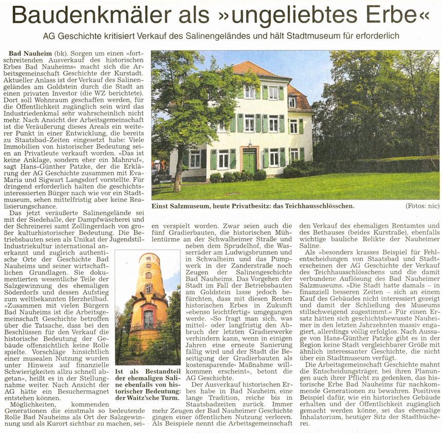 AG Geschichte: Baudenkmäler als ungeliebtes Erbe, WZ, 09.09.2014, Text: Bernd Klühs, Fotos: Nici Merz