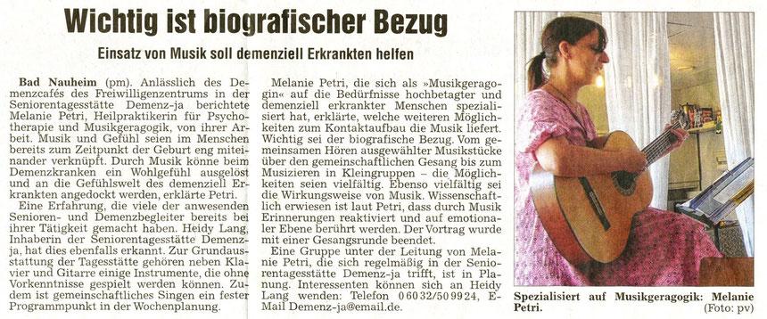 Musik und demenzielle Erkrankung, WZ, 27.08.2013, Text und Foto: pm