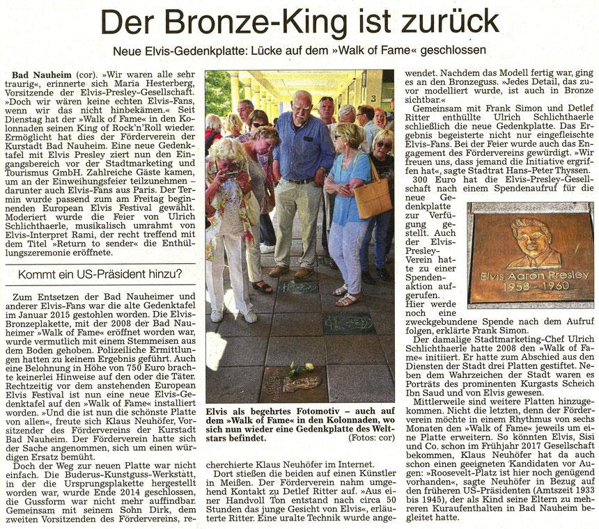 Der Bronze-King ist zurück, WZ 18.08.2016, Text und Fotos: Corinna Weigelt