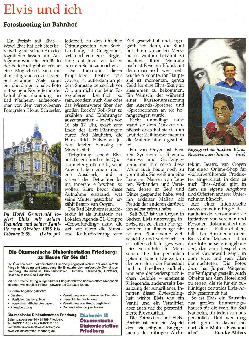 Elvis und ich, Seniorenjournal 2/2016, Sonderbeilage der Wetterauer Zeitung, Fotos: Nici Merz und pv, Text: Frauke Ahlers