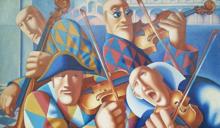 "Dawydow Wjatscheslaw / Davydov Viacheslav. ""Musik, Karneval in Venedig"", 120 x 100cm, 1998"