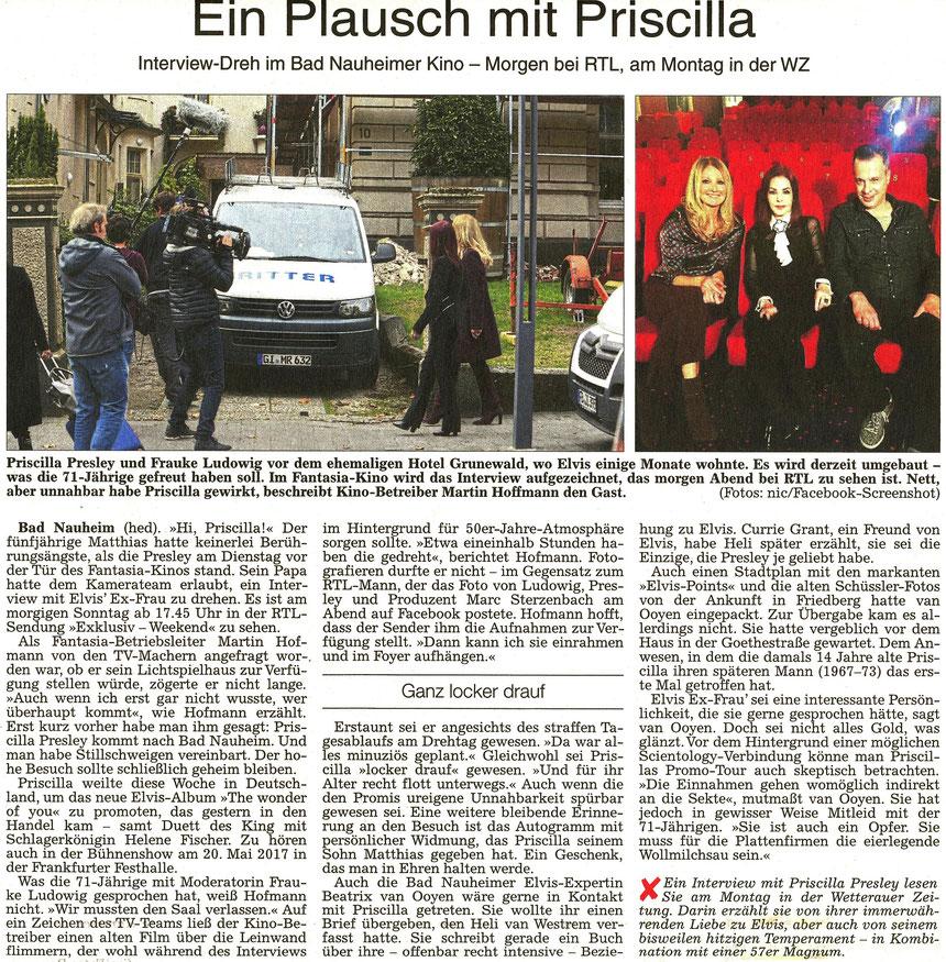 """""""Ein Plausch mit Priscilla"""", WZ 22.10.2016, Text: David Heßler, Fotos: Nici Merz und Screenshot"""