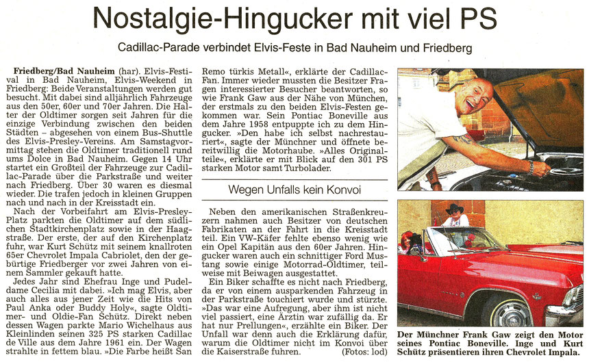 Cadillac-Parade verbindet Elvis-Feste in Bad Nauheim und Friedberg, WZ 22.08.2016, Text: har, Fotos: lod