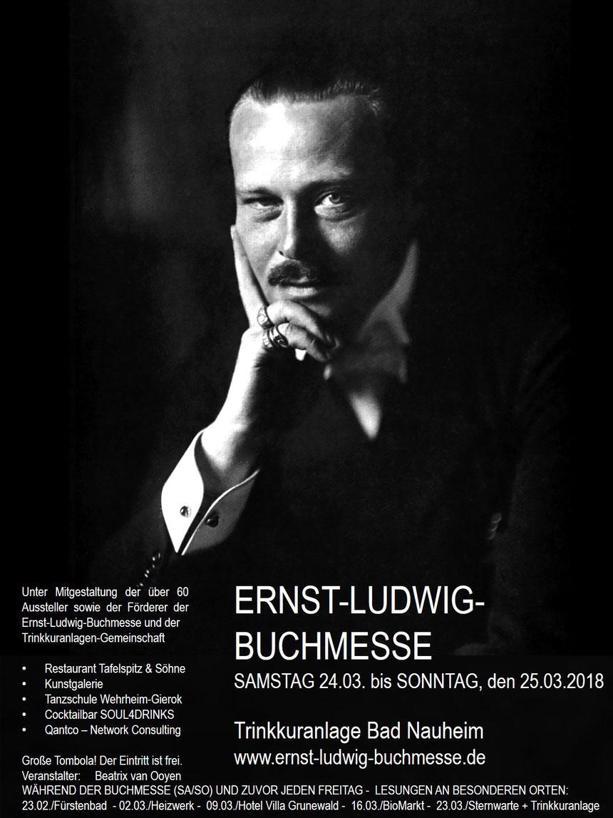 Plakat Ernst-Ludwig-Buchmesse 2018 - Mitgestaltung durch mehr als 60 Aussteller und die Gemeinschaft der Trinkkuranlage