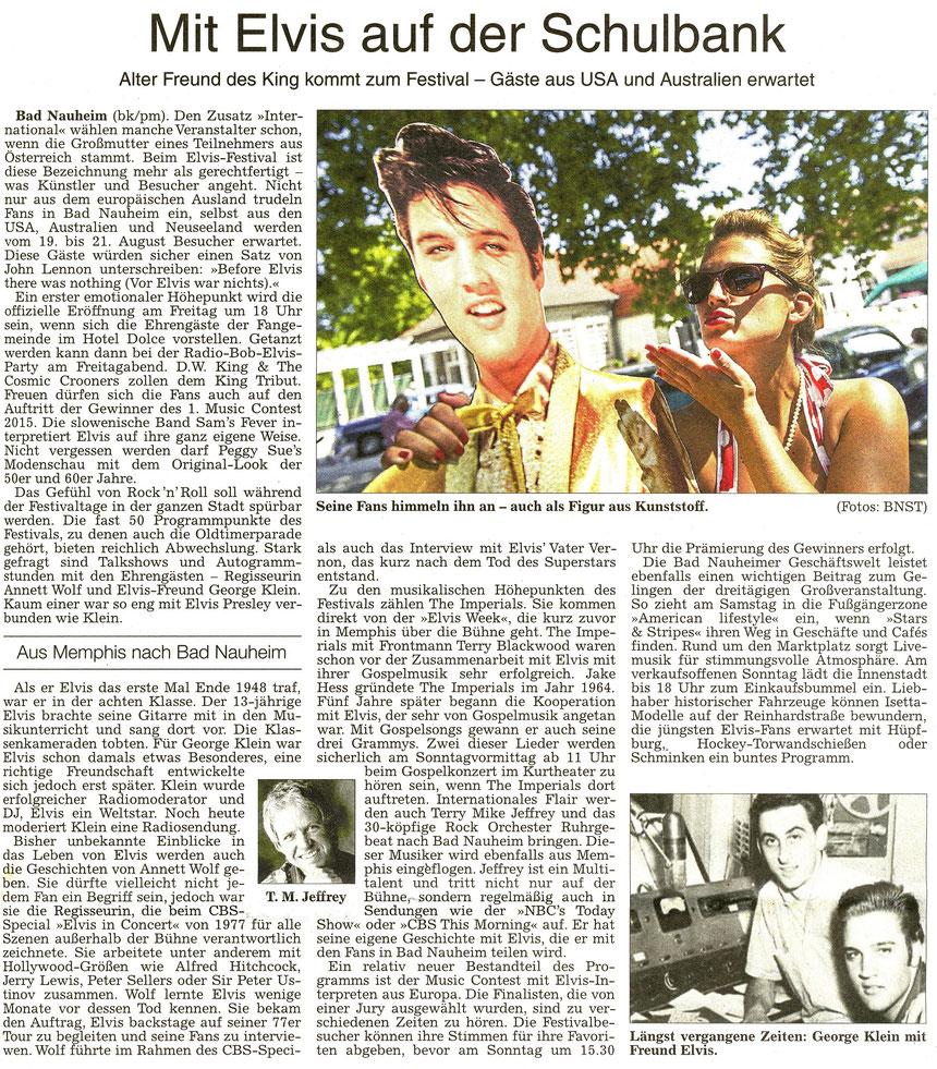 Mit Elvis auf der Schulbank, WZ 13.08.2016, Text: pm/Bernd Klühs, Foto: Stadtmarketing Bad Nauheim