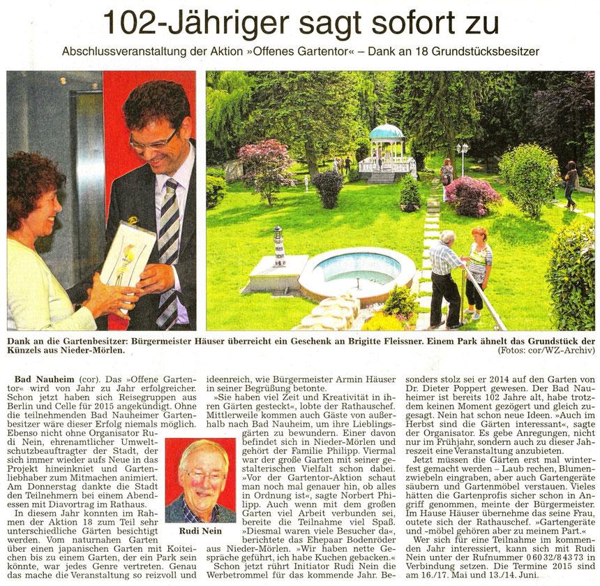 Das offene Gartentor, WZ 08.11.2014, Text Corinna Weigelt, Fotos WZ-Archiv und Corinna Weigelt