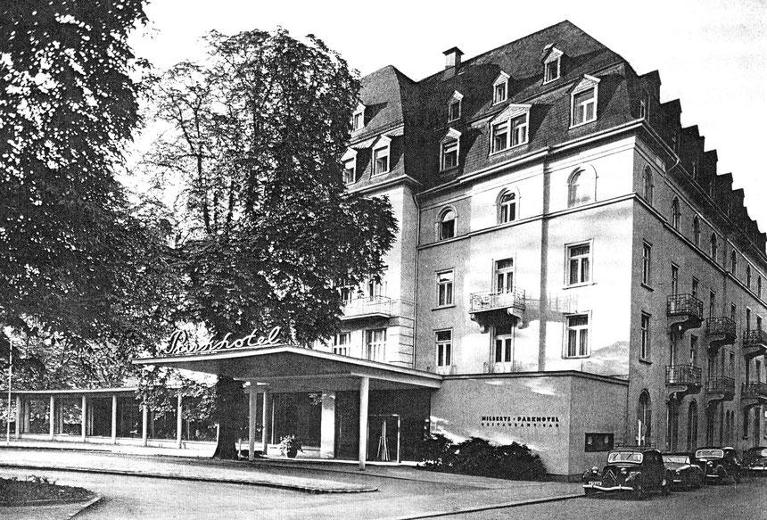 Ansicht von Hilberts Parkhotel, Digitale Leihgabe vom Deutschen Buchkontor Bad Nauheim