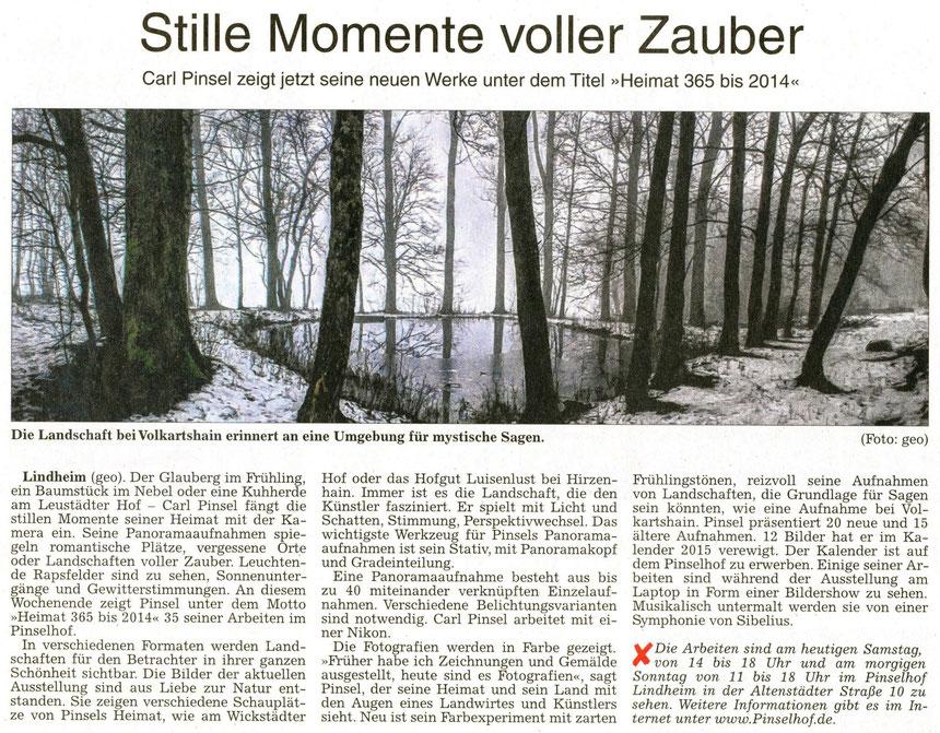 Neue Werke von Carl Pinsel auf dem Pinselhof, WZ 06.12.2014, Text und Foto: geo