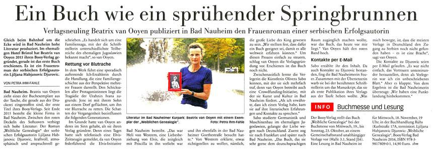 """""""Ein Buch wie ein sprühender Springbrunnen"""", Frankfurter Neue Presse 11.10.2016, Text und Foto: Petra Ihm-Fahle"""