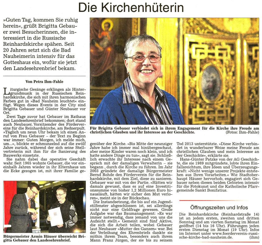 Brigitta Gebauer die Hüterin der Russischen Reinhardskirche in Bad Nauheim, WZ 30.11.2015, Text und Foto: Petra Ihm-Fahle