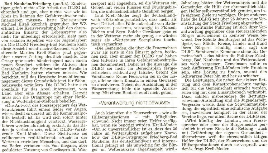 Menschen ertrinken trotz Badeverbot, WZ 26.02.2014, pm/Bernd Klühs