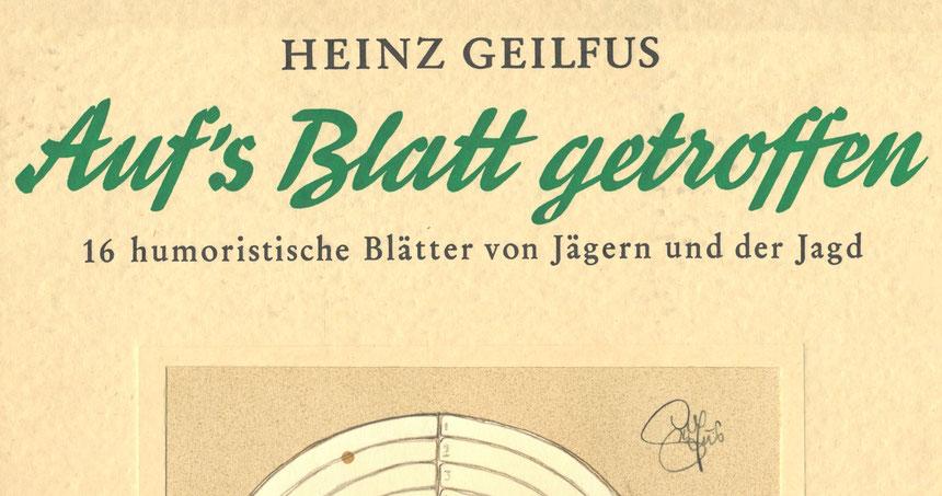 """Mappe mit Zeichnungen von Heinz Geilfus """"Auf's Blatt getroffen"""", Schenkung"""