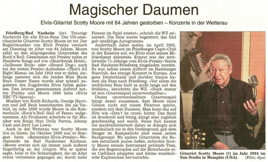 Magischer Daumen - Elvis-Gitarrist Scotty Moore mit 84 Jahren gestorben, WZ 30.06.2016, Text: Jürgen Wagner, Foto: dpa