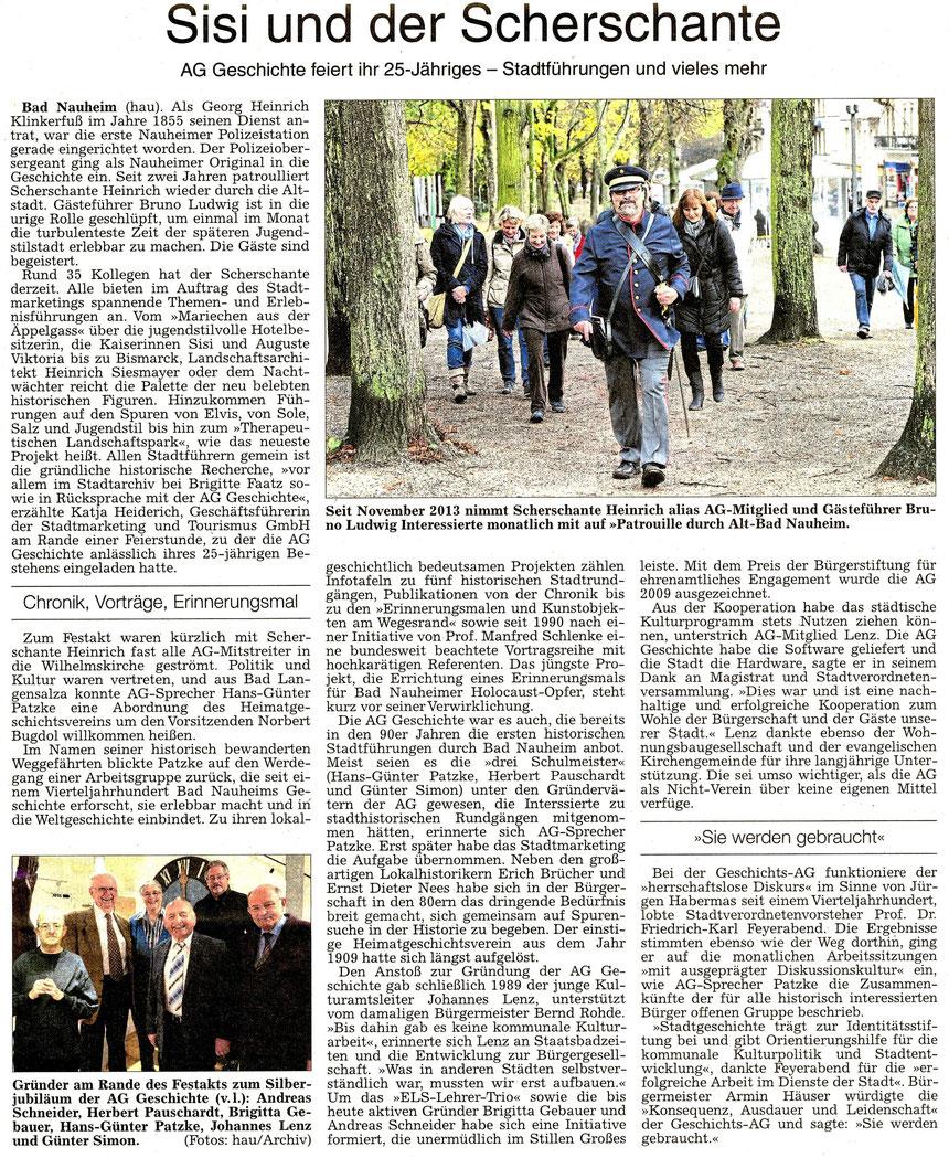 AG Geschichte feiert 25-Jähriges Bestehen, WZ 20.11.2015, Text und Fotos: Annette Hausmanns