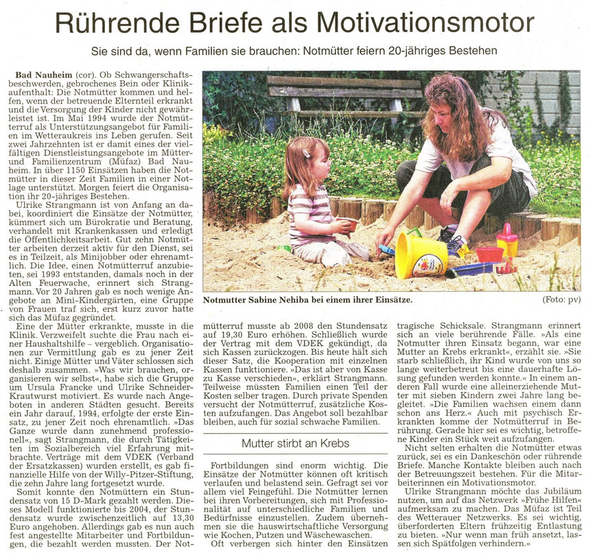 Rohrende Briefe als Motivationsmotor, WZ 09.10.2914, Text: Corinna Weigelt, Foto: privat