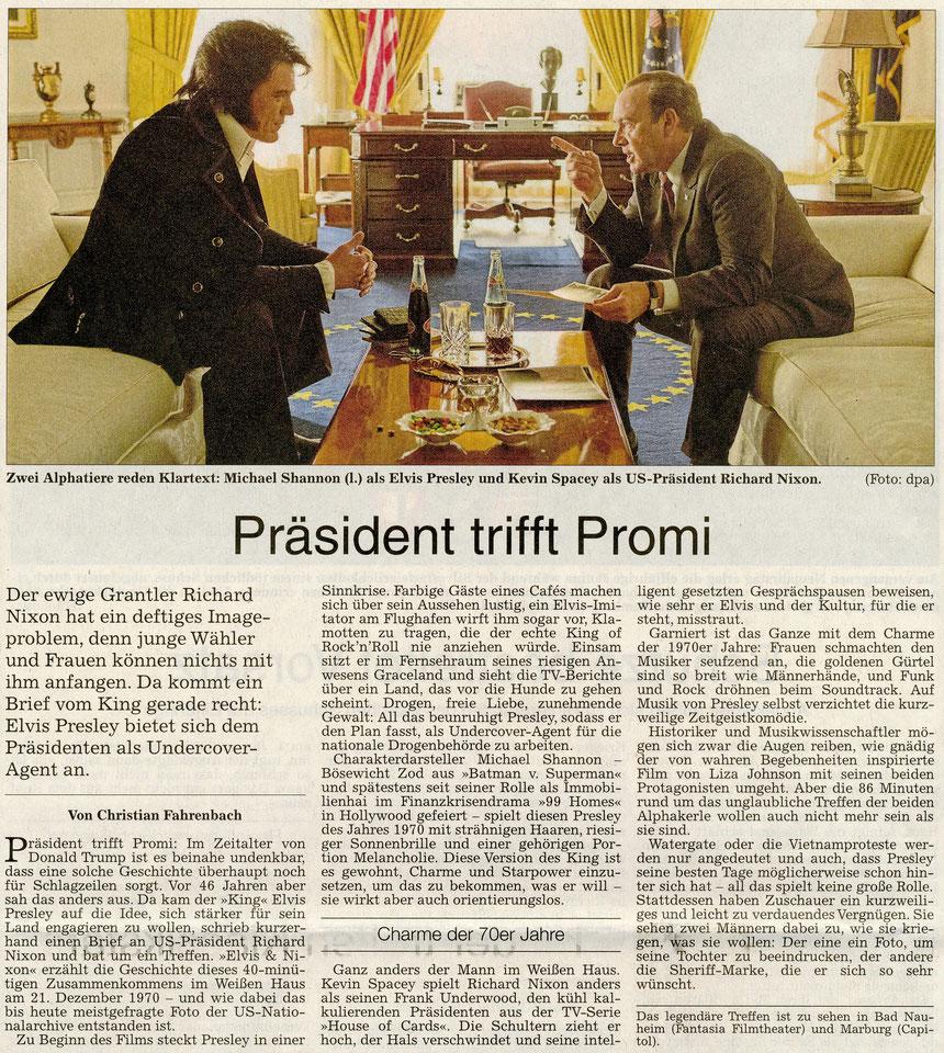 "Elvis trifft Nixon: ""Zwei Alphatiere reden Klartext"", WZ, 08.12.2016. Text: Christian Fauerbach, Foto: dpa"