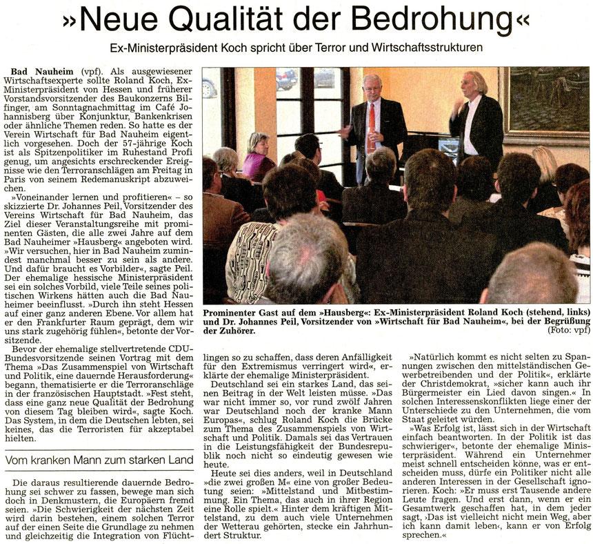 """Jahresveranstaltung Wirtschaft für Bad Nauheim e.V. """"Neue Qualität der Bedrohung"""", WZ 17.11.2015, Text und Foto: vpf"""