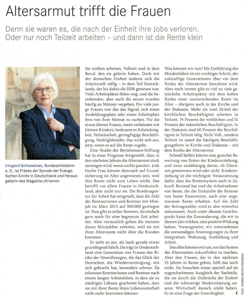 """Dr. Irmgard Schwaetzer, Chrismon 12-2015: """"Altersarmut trifft die Frauen"""" auch unter www.chrismon.de"""