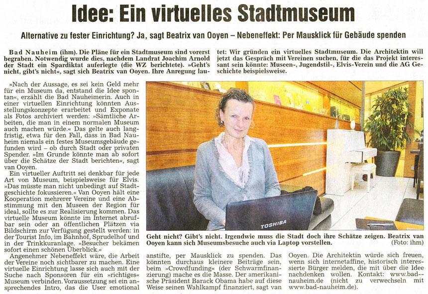 Idee: Ein virtuelles Stadtmuseum, Wetterauer Zeitung, 26.05.2012, Text und Foto: Petra Ihm-Fahle