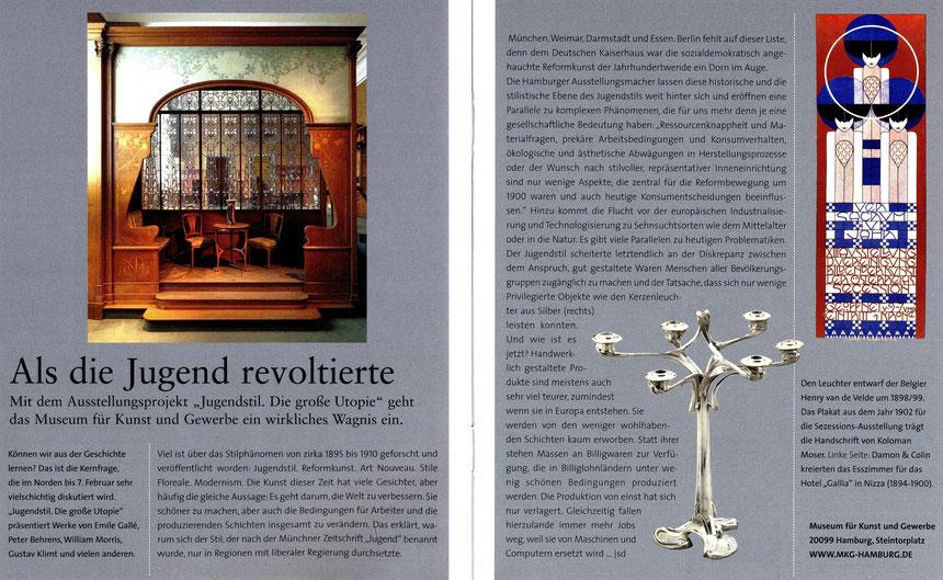 Museum für Kunst und Gewerbe Hamburg: Jugendstil. Die große Utopie / Als die Jugend revoltierte, Veröffentlichung: Wohn!Design 4.2015