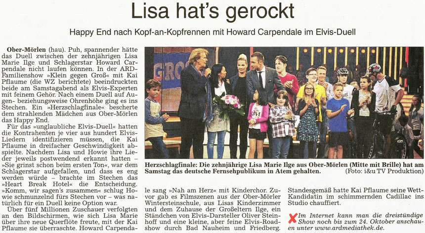 Elvis-Duell von Lisa Marie Ilge mit Howard Carpendale: Lisa hat's gerockt, WZ 19.10.2015, Text: Annette Hausmanns, Foto: i&u TV Produktion