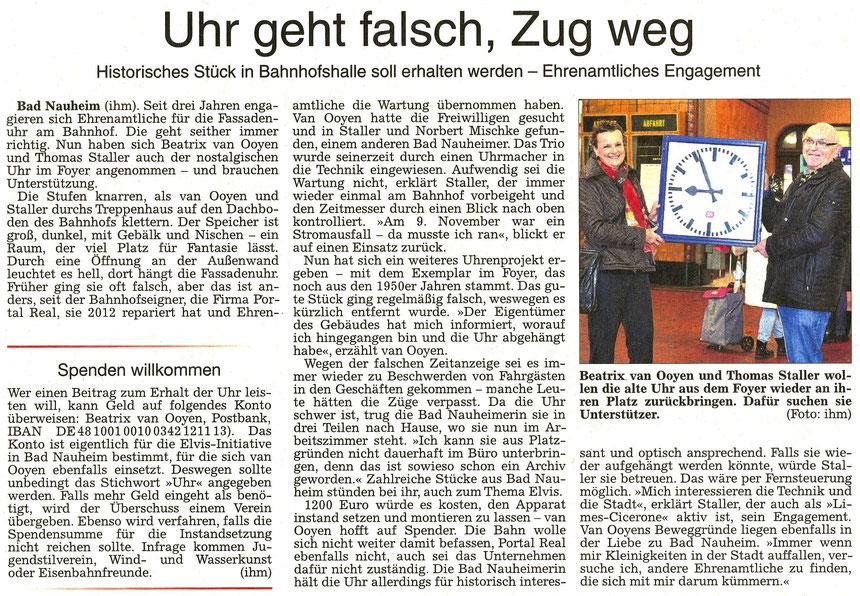Uhr geht falsch, Zug weg, Wetterauer Zeitung, 03.12.2015, Text und Foto: Petra Ihm-Fahle
