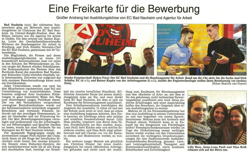 Eine Freikarte für die Bewerbung - Ausbildungsbörse von EC Bad Nauheim und Agentur für Arbeit, WZ 12.03.2016, Text und Fotos: Beatrix van Ooyen