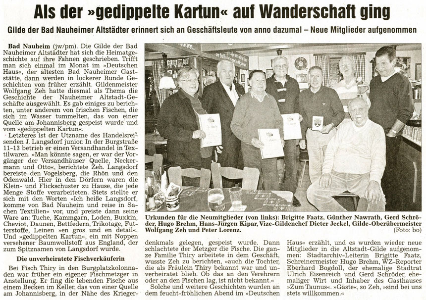 Erinnerungen von Altstadtgemeinschaft und Gildemeister Wolfgang Zeh, WZ 11.01.2011, Foto: Eberhard Bogdoll