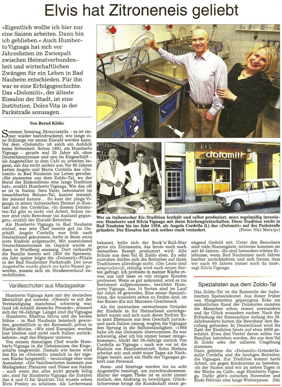 Elvis hat Zitroneneis geliebt, WZ 21.04.2016, Text: Bernd Klühs, Fotos: Nici Merz u. pv