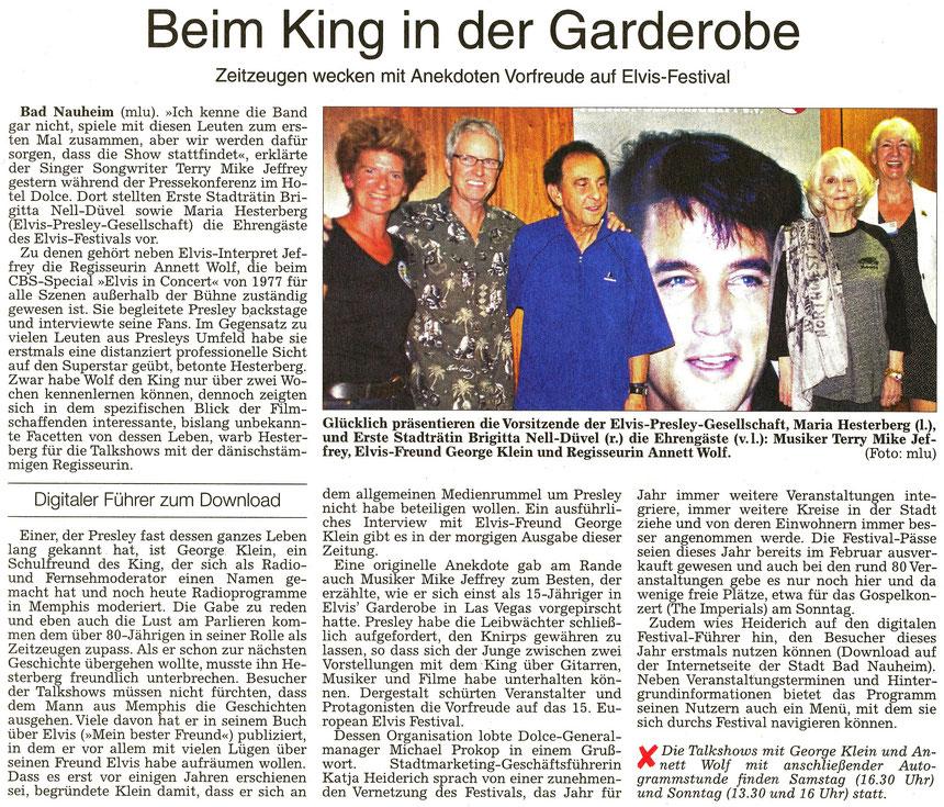Beim King in der Garderobe, WZ 19.08.2016, Text und Foto: mlu