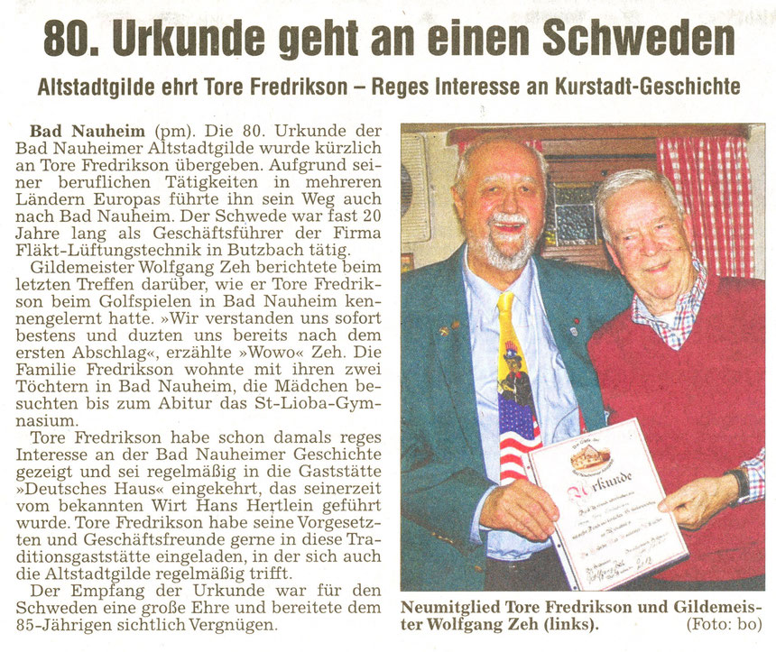 Jubiläum: 80. Urkunde an Tore Fredrikson, WZ 15.11.2012, Foto: Eberhard Bogdoll