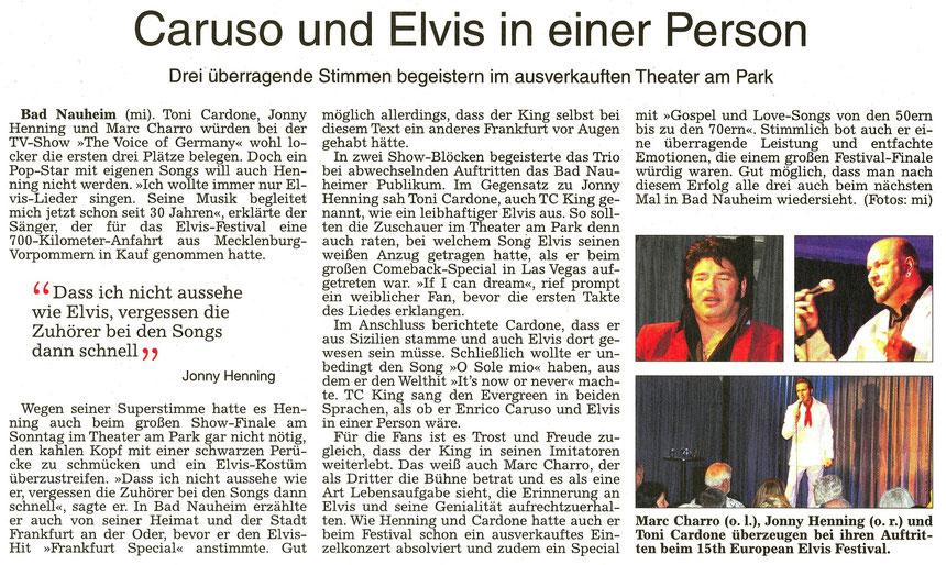 Caruso und Elvis in einer Person, WZ 23.08.2016, Text und Fotos: mi