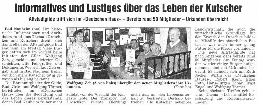 Über das Leben der Kutscher, Referenten Rudi Gries und Wolfgang Törmer, WZ ev. Oktober 2011, Foto: Eberhard Bogdoll