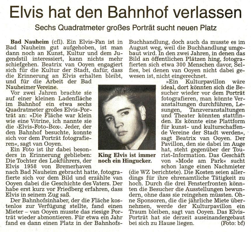 Elvis hat den Bahnhof verlassen, WZ 24.09.2016, Text: Carolin Fest, Foto von Horst Schüssler: Beatrix van Ooyen