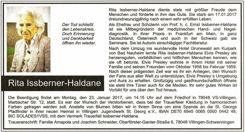 Traueranzeige Rita Issberner-Haldane, WZ 20.01. und FAZ 21.01.2017