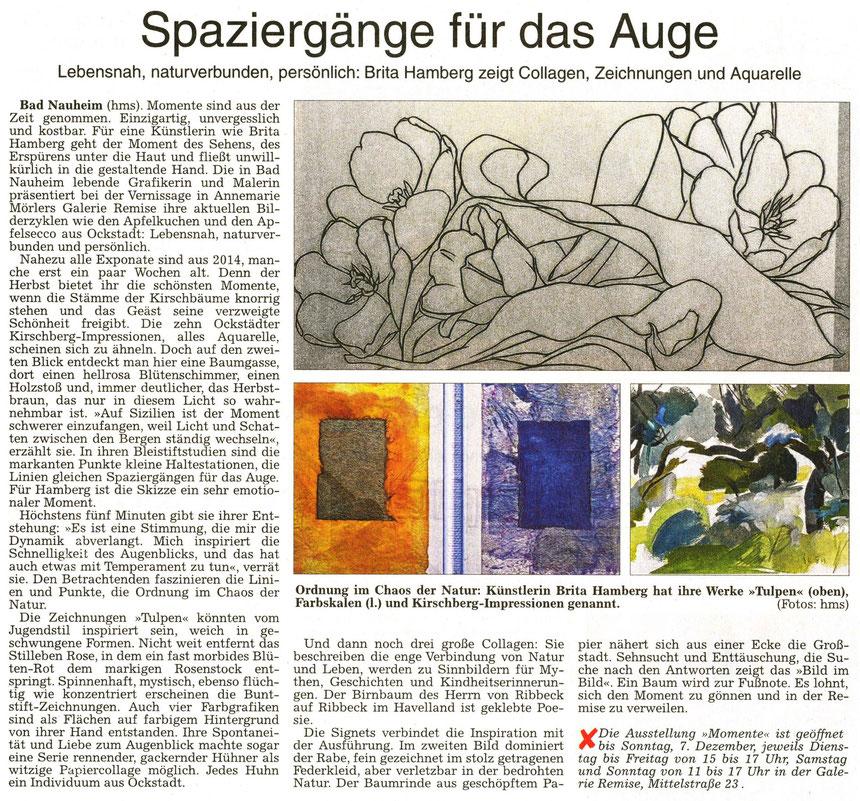 """Ausstellung von Brita Hamberg """"Momente"""" in der Galerie Remise Bad Nauheim, WZ 29.11.2014, Text und Fotos: hms"""