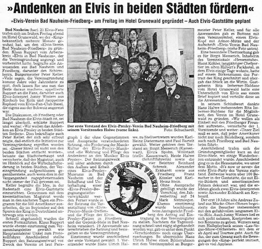 Andenken an Elvis in beiden Städten fördern, WZ März 1998, Text: har, Foto: Schuchardt