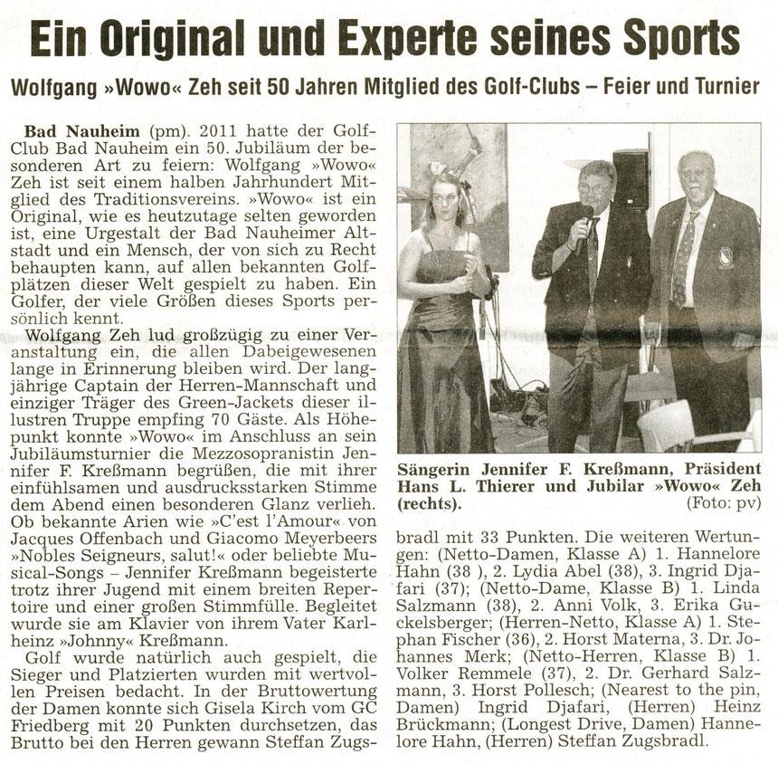Einladung von Wolfgang Zeh zum 50. Geburtstag des Golf-Clubs, WZ 13.07.2011