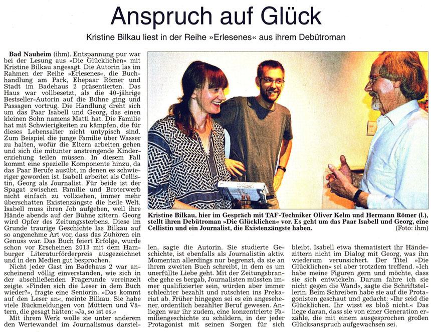 WZ 18.07.2015 - Roman: Die Glücklichen - von und mit Autorin Kristine Bilkau, Text und Foto: Petra Ihm-Fahle